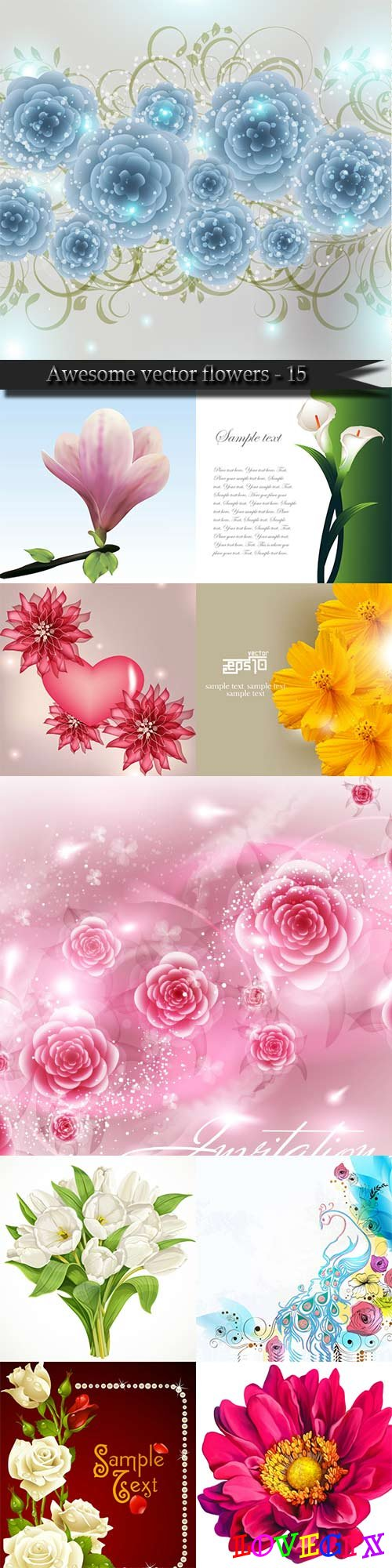 Awesome vector flowers - 15