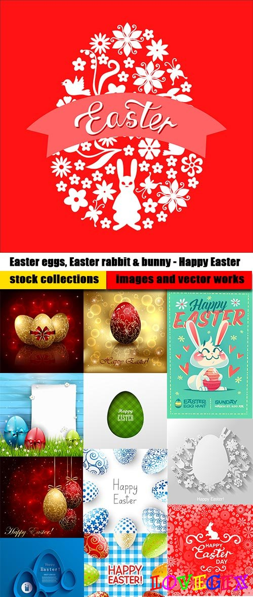Easter eggs, Easter rabbit & bunny - Happy Easter - Set of 24xEPS Professional Vector Stock