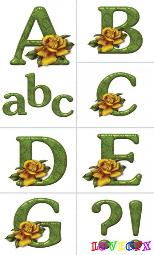 Alphabet (letters with roses on a transparent background) 3