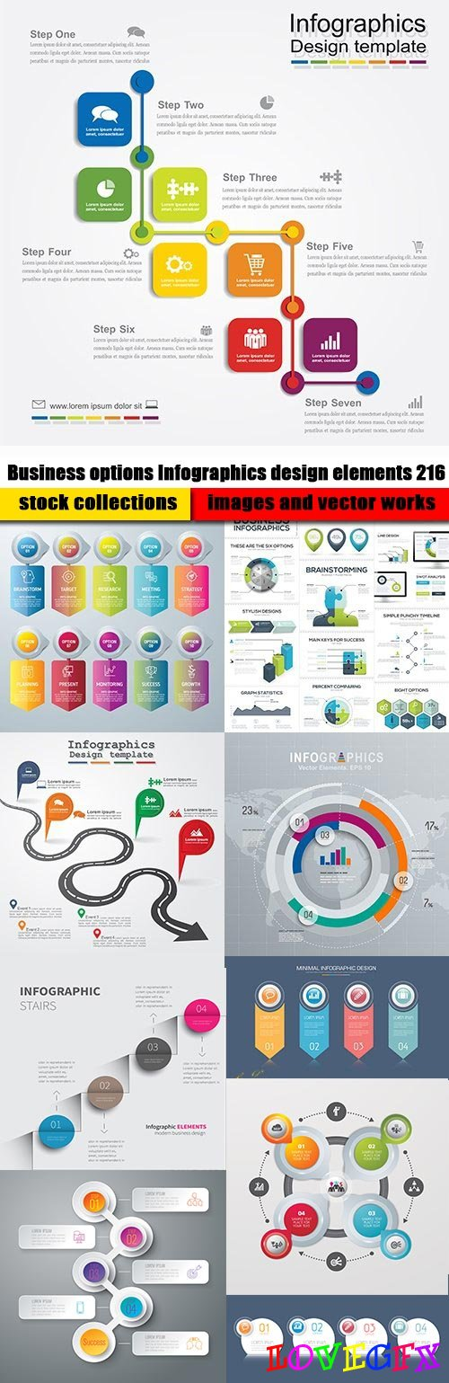 Business options Infographics design elements 216