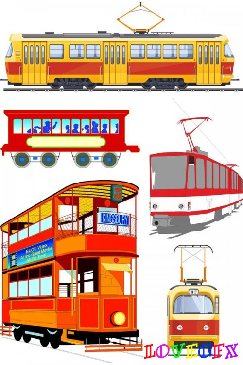 Rail transport: Tram (a selection vector renderings)