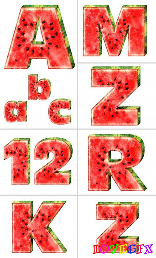 Alphabet (letters in the form of a watermelon on a transparent background)