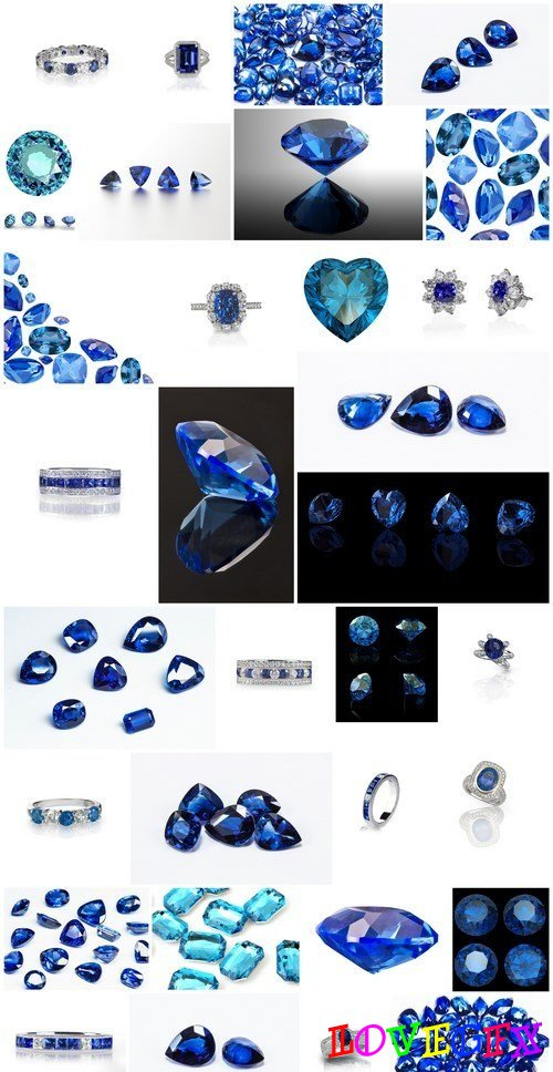 Sapphires - Gemstones, Set of 32xUHQ JPEG Professional Stock Images