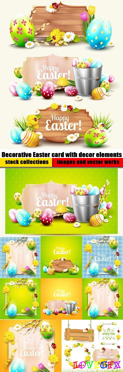 Decorative Easter card with decor elements