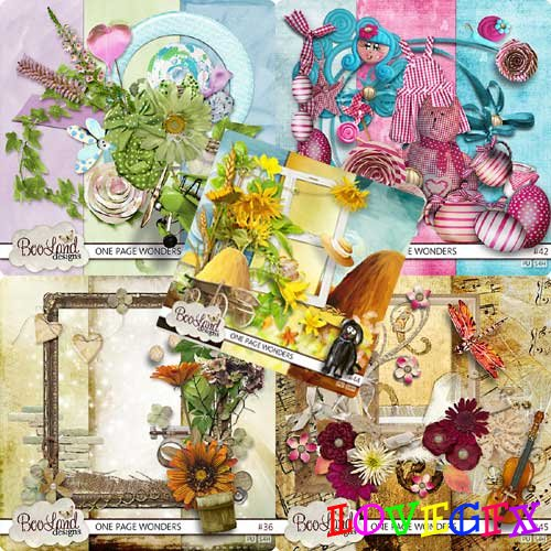 Collection of 10 scrapbook kits - 36-45 One page wonders