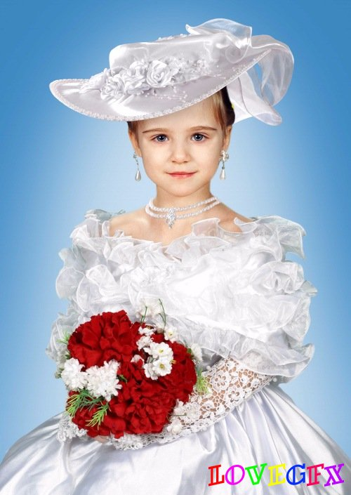 Template for girls - white dress and hat of satin
