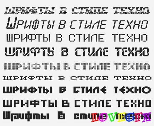 Russian fonts in technical style