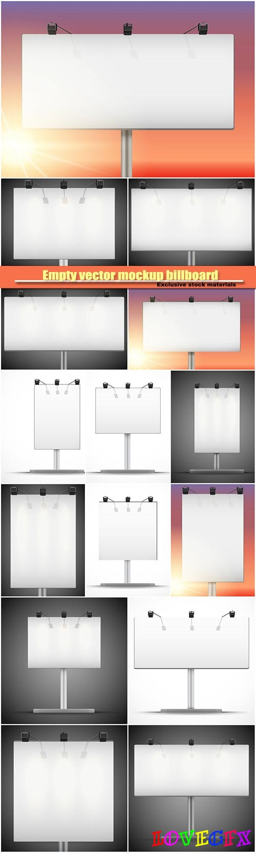 Empty vector mockup billboard with spotlights and illuminated
