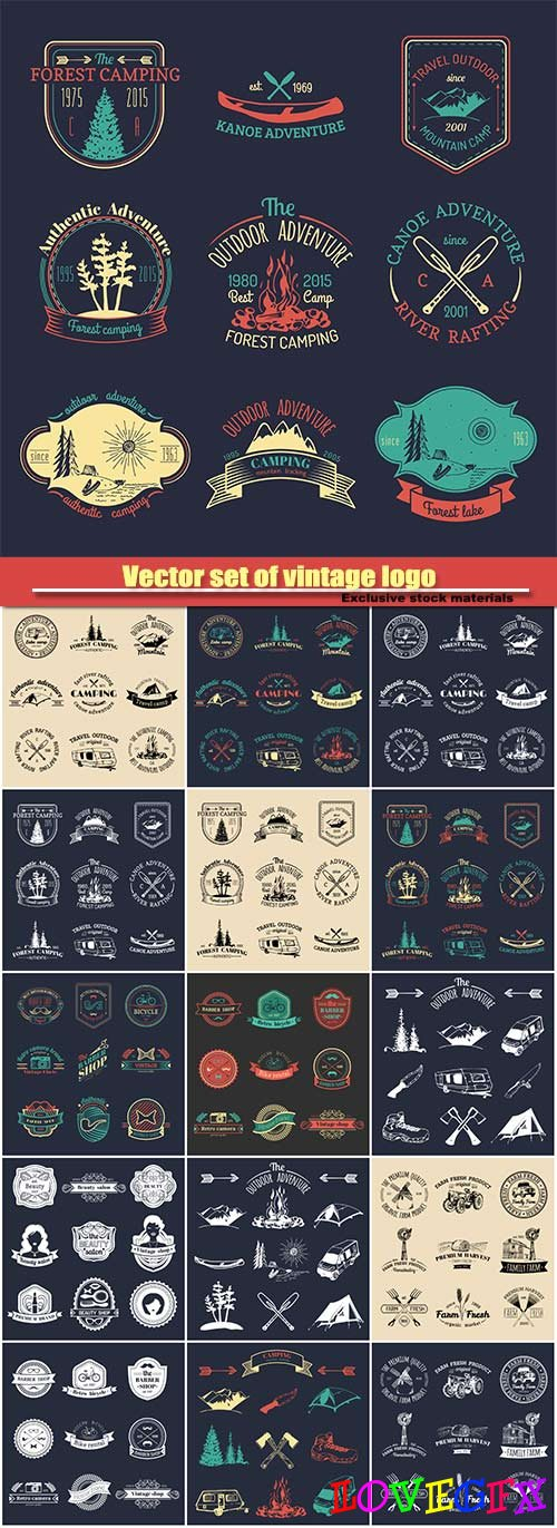 Vector set of vintage logo