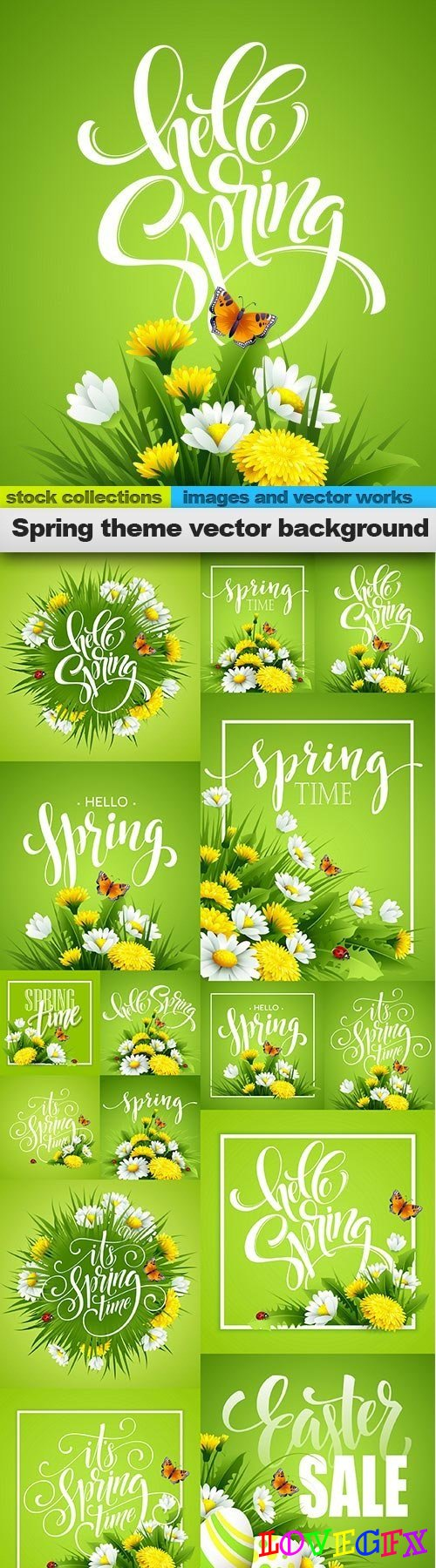 Spring theme vector background, 15 x EPS
