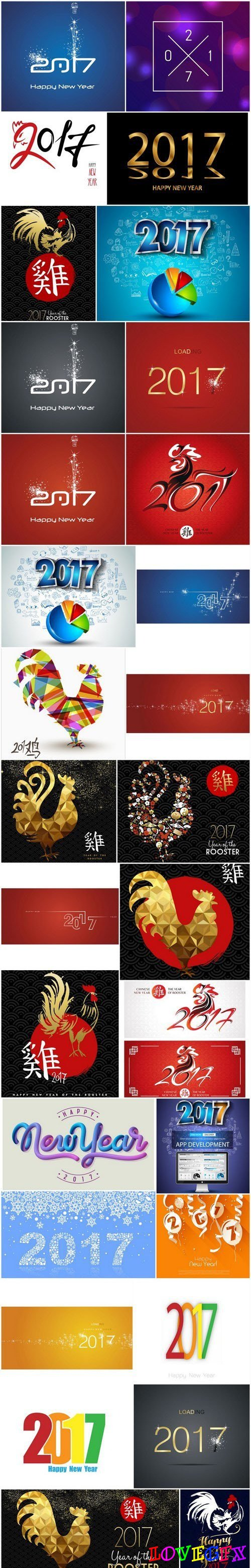 2017 - The Year of Fire Rooster 2 - Set of 30xEPS, AI Professional Vector Stock