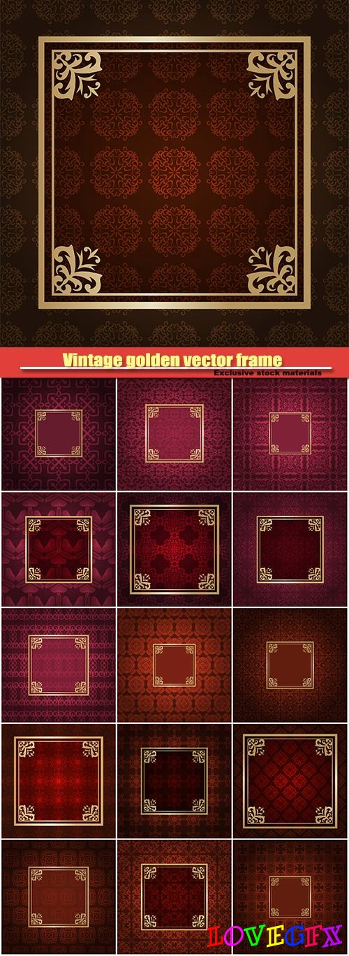 Vintage golden vector frame on colored ornamental luxury background