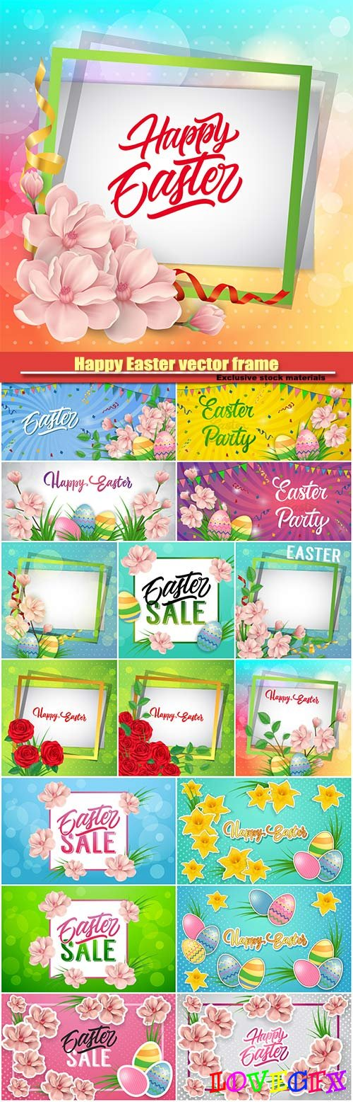Happy Easter vector frame with pink flowers and ornate eggs