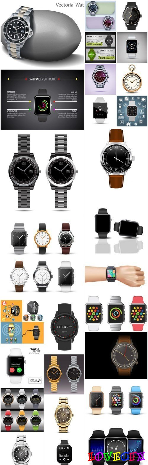 Hand Watch Collection - 30 Vector