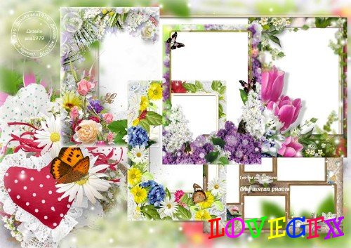 Set of frames for photoshop - And flowers blossomed