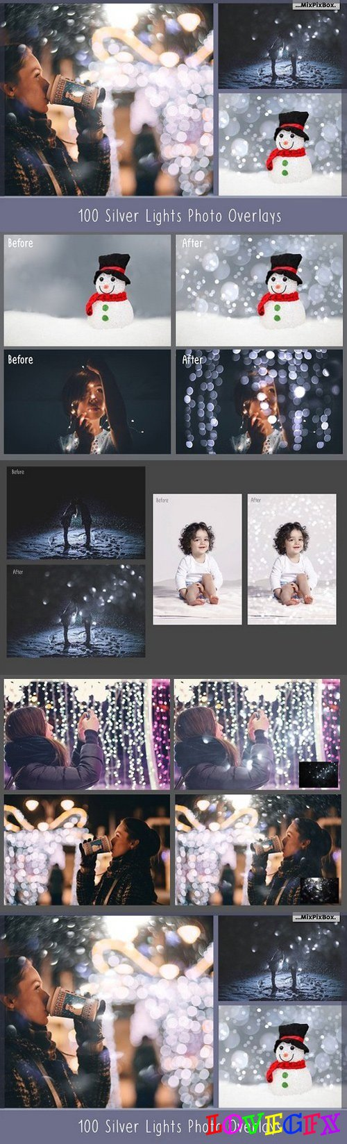 100 Silver Lights Photo Overlays 950339