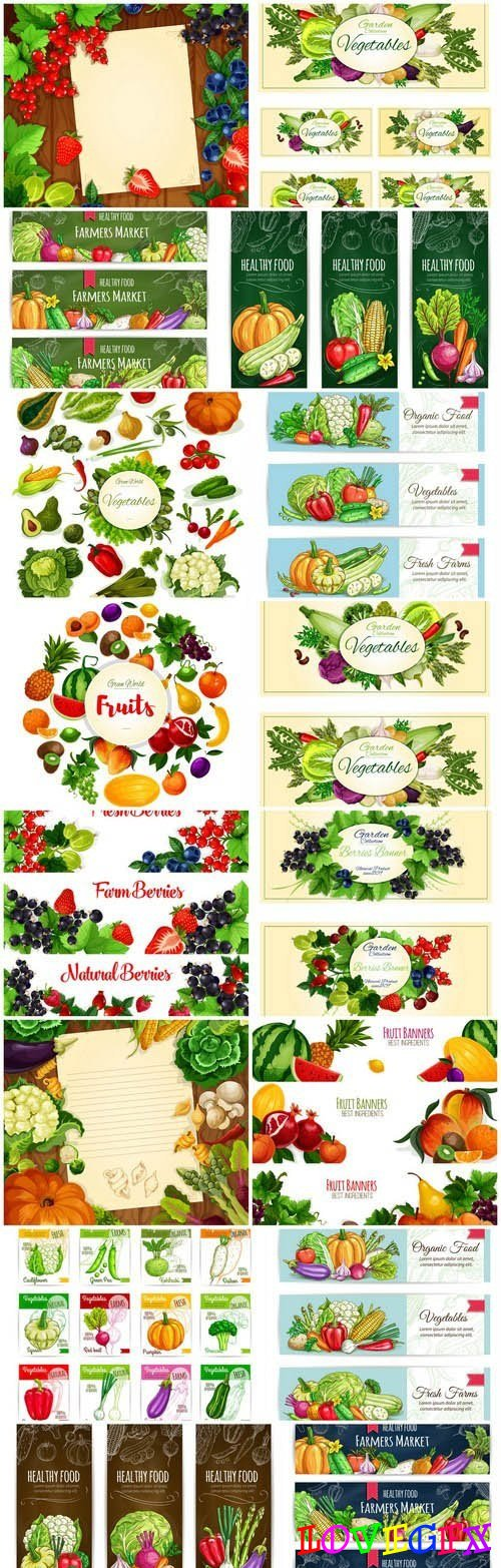 Vegetables And Fruits Background - 16 Vector