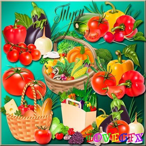 Clip Art -  Lots of vegetables gives my favorite garden