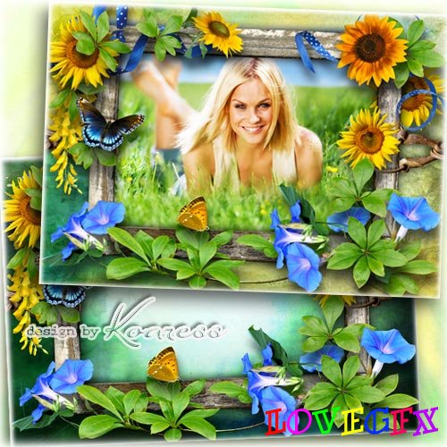 Romantic frame for Photoshop - Sunny flowers