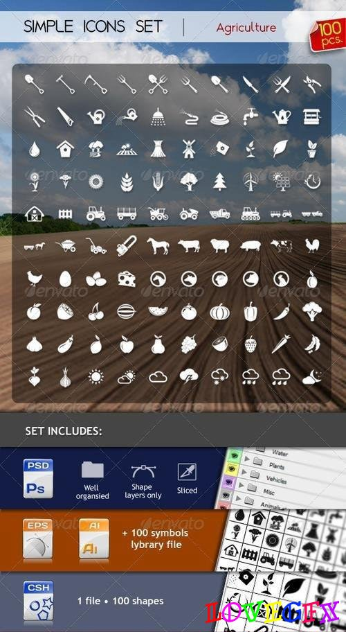 100 Simple Icons - AGRICULTURE
