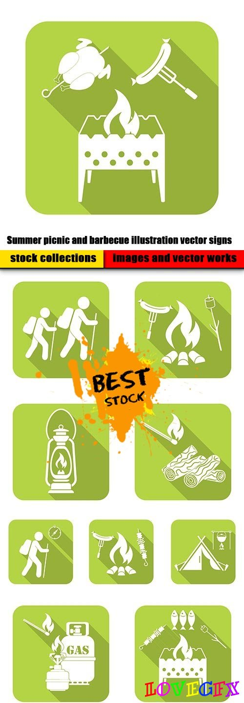 Summer picnic and barbecue illustration vector signs