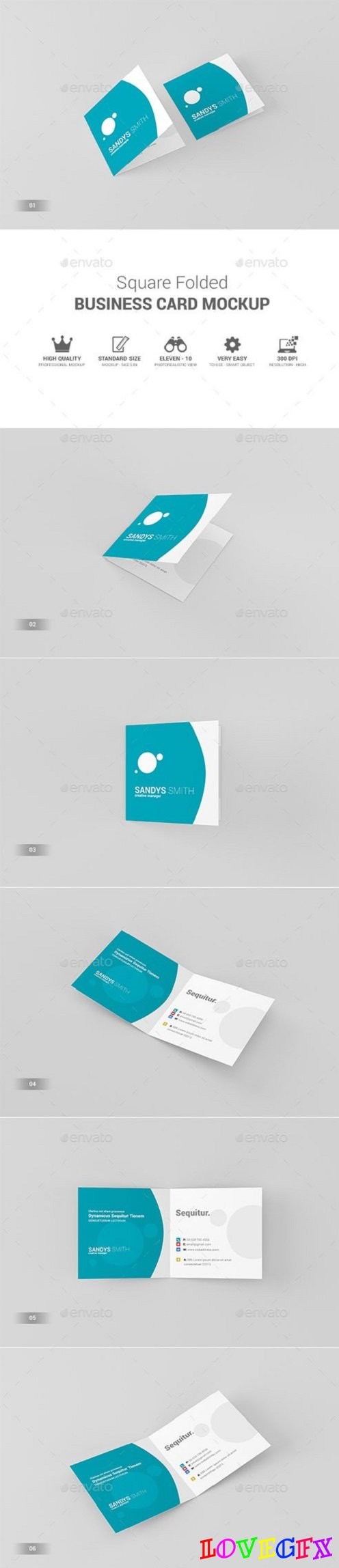 Square Folded Business Card Mock-Ups 19319589