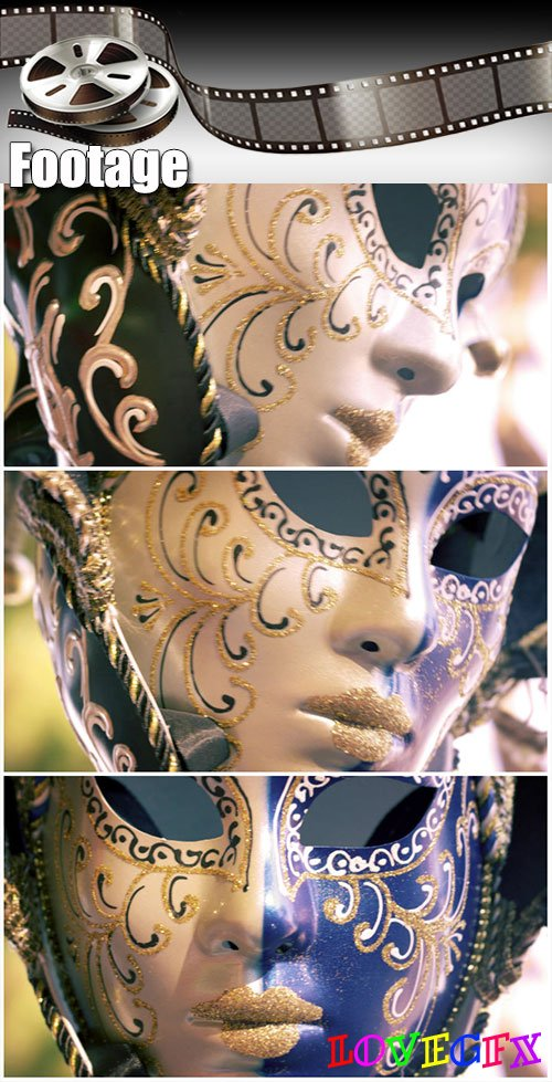 Video footage Close up shot of a carnival mask blowing in the wind