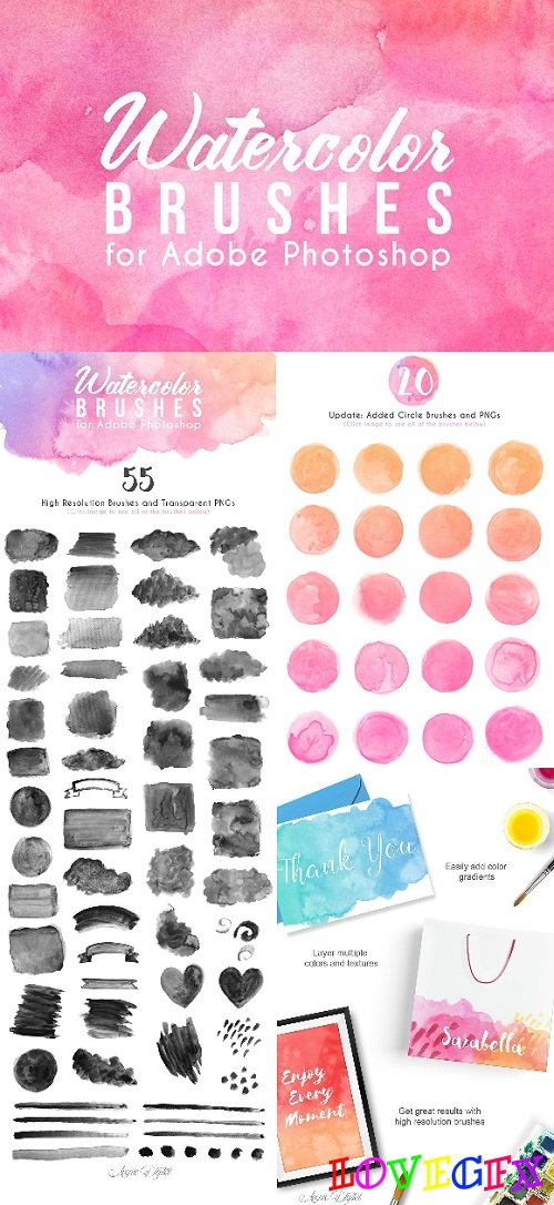 75 Watercolor Photoshop Brushes 1264025