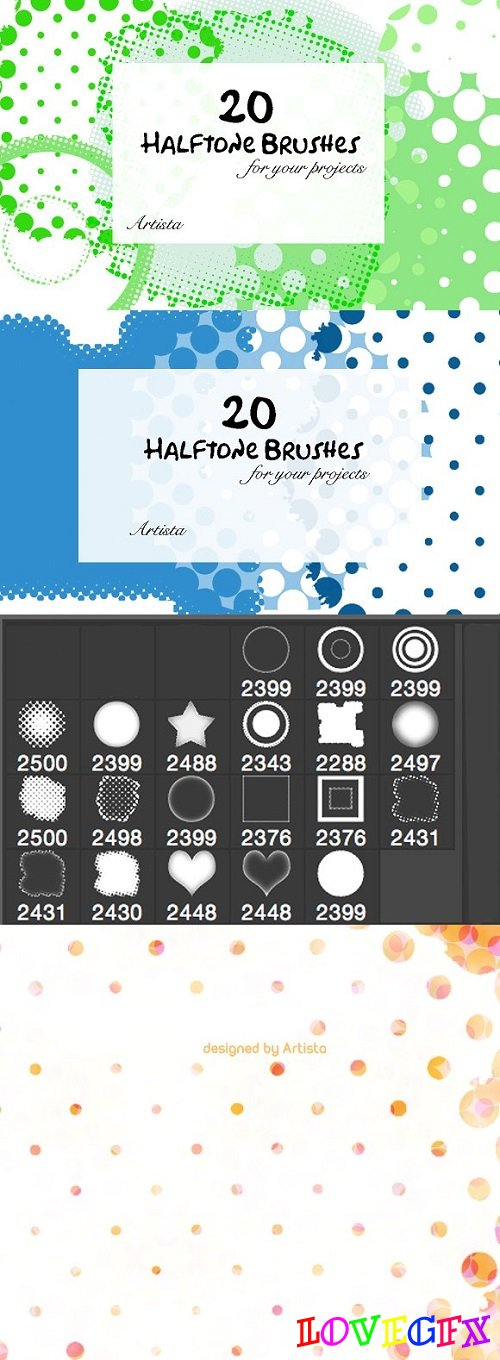 Halftone Photoshop Brush Pack of 20 1514675
