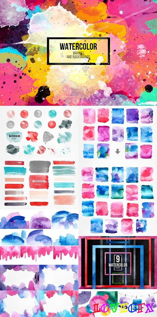Watercolor brushes+design elements 1274003