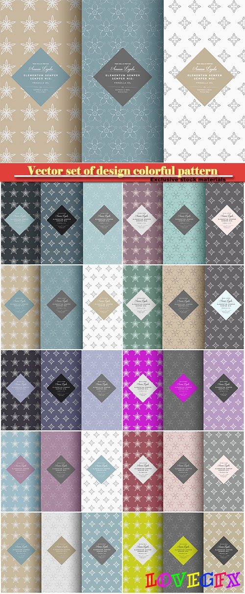 Vector set of design colorful pattern