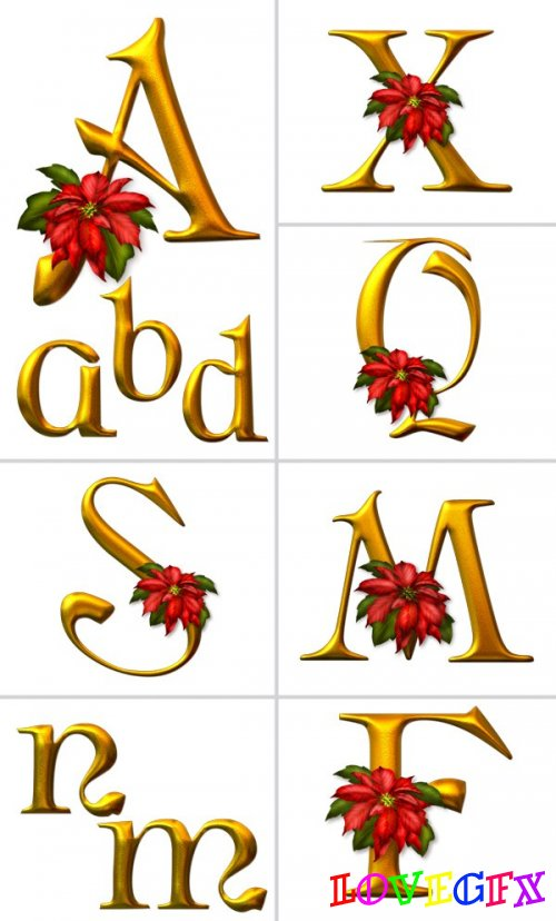 Alphabet (letters with flowers on a transparent background) 1