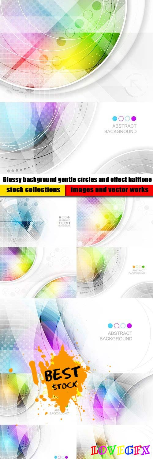 Glossy background gentle circles and effect halftone