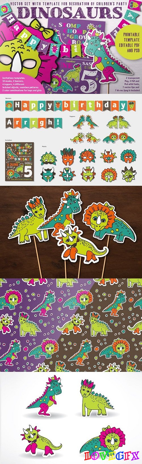 Dinosaurs Birtday decor set 1581325