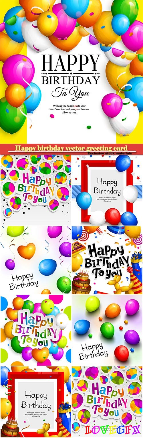 Happy birthday vector greeting card, party colorful balloons and confetti
