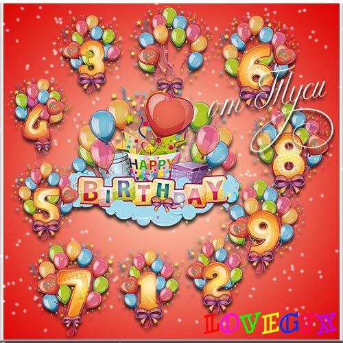 Balloons with numbers for birthday greetings - Clipart
