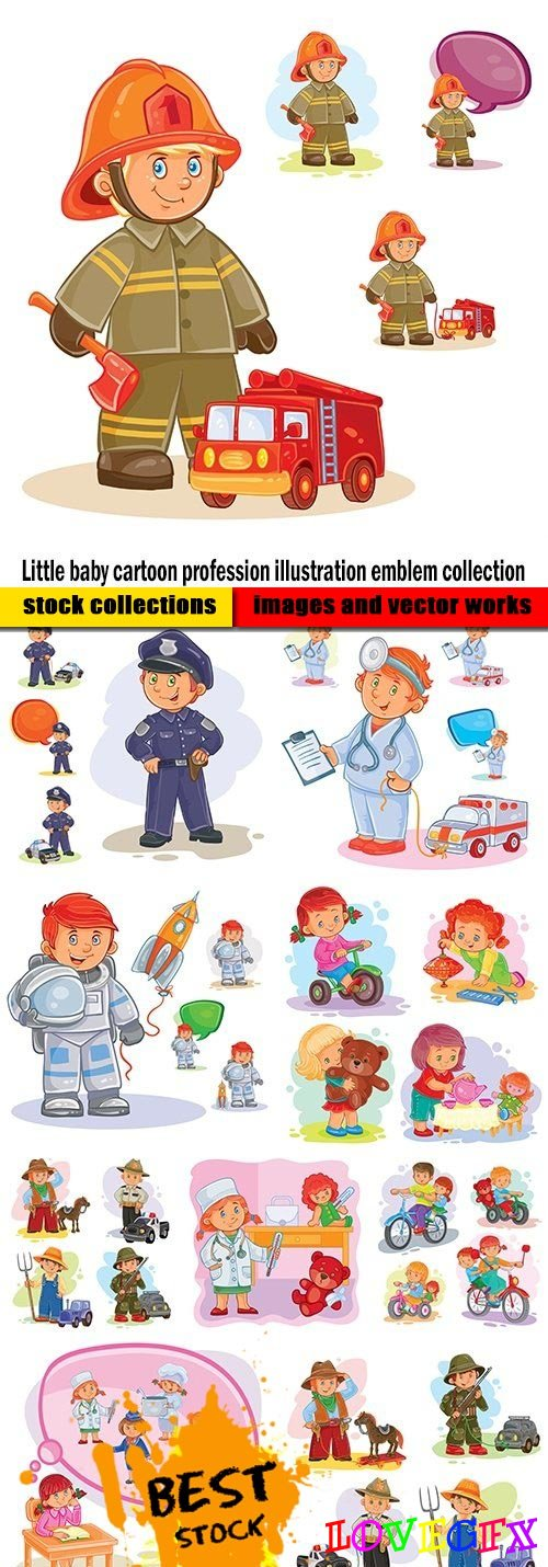 Little baby cartoon profession illustration emblem collection