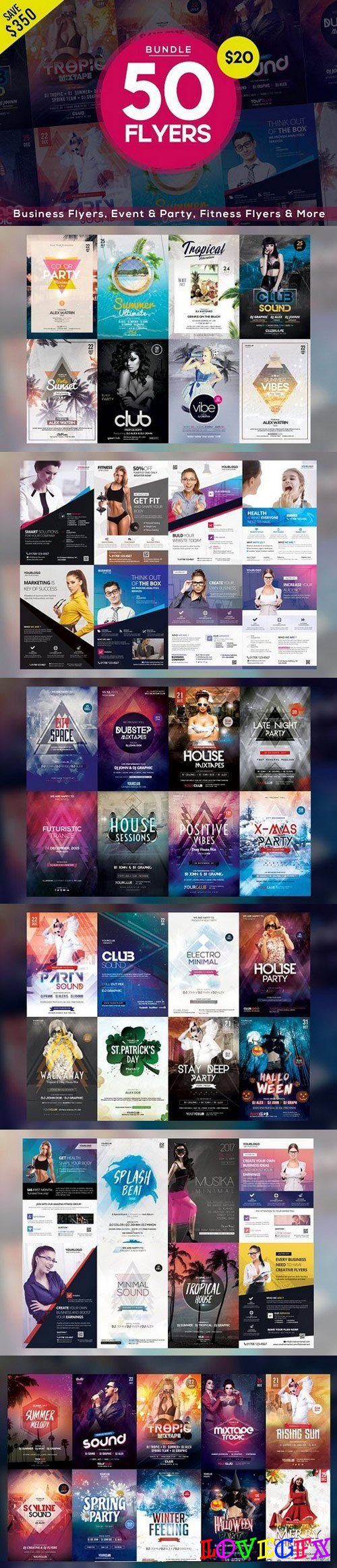 BUNDLE | 50 PSD FLYERS TEMPLATES 1607396
