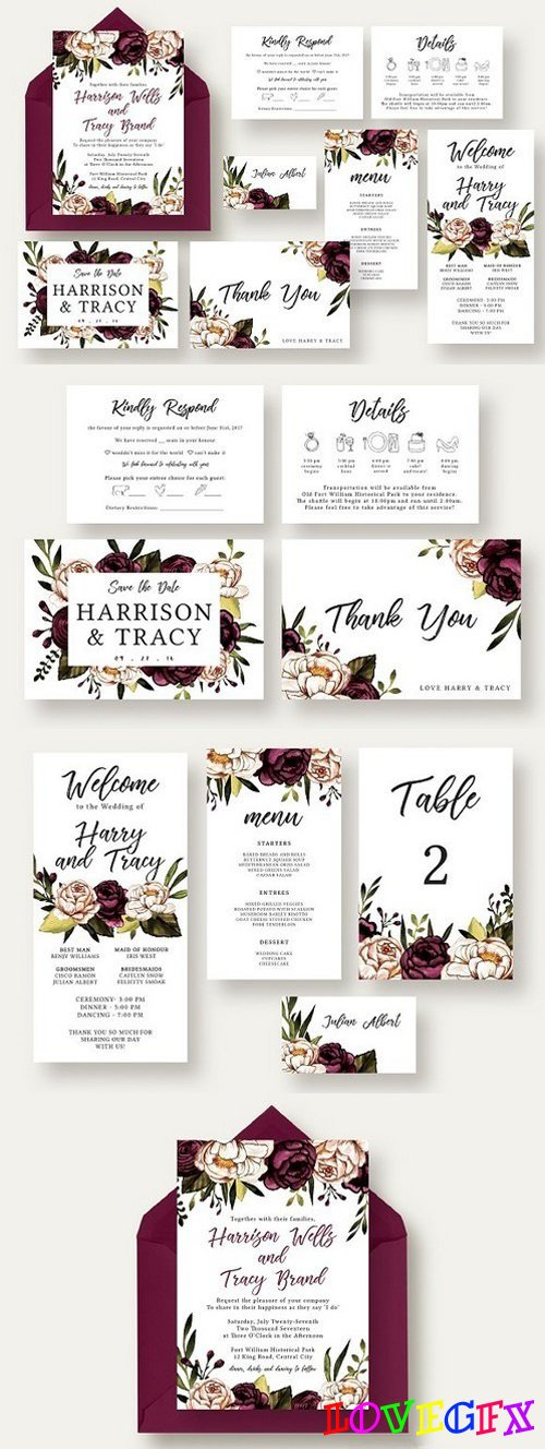 Bold & Stylish Floral Wedding Suite 1614914