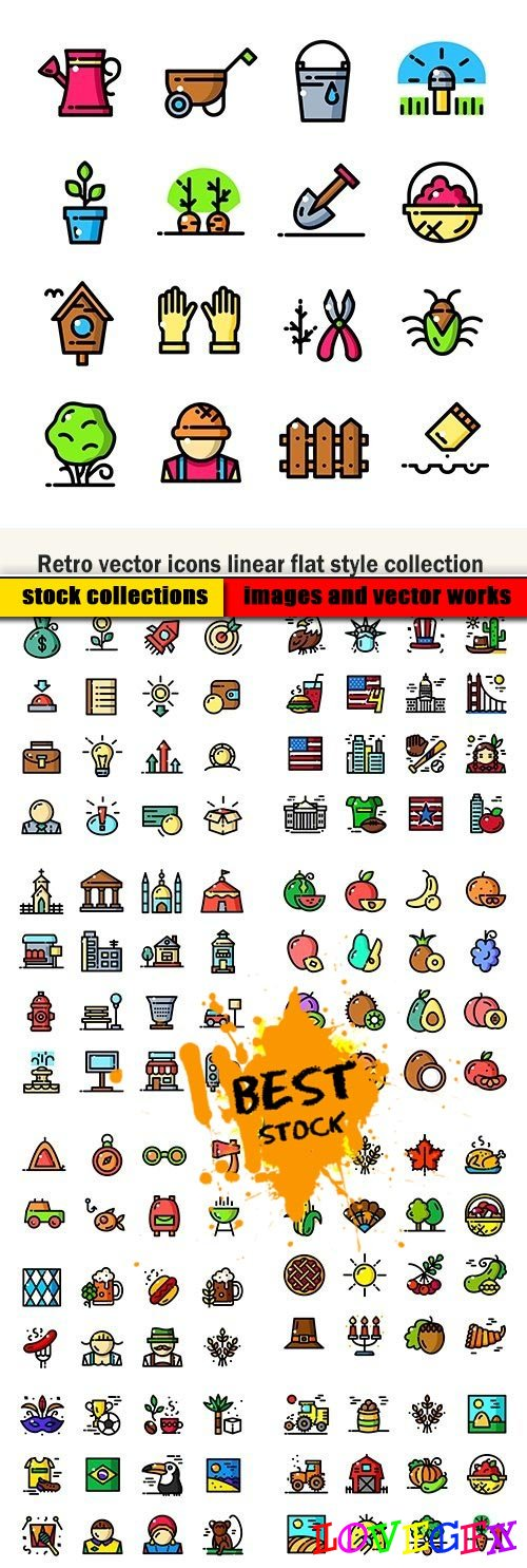 Retro vector icons linear flat style collection