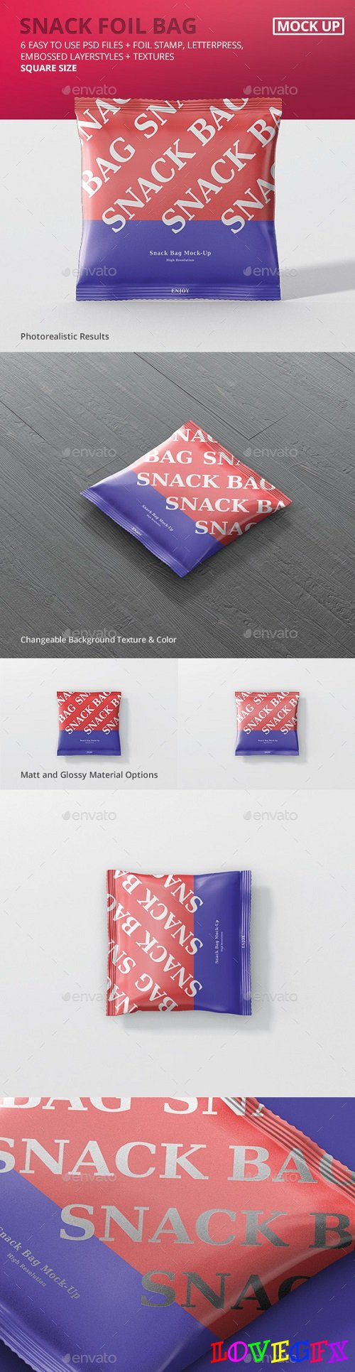 Snack Foil Bag Mockup - Square Size - 20246782
