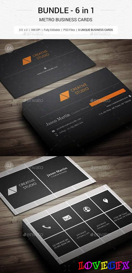 Bundle - Metro Business Cards - 6 in 1