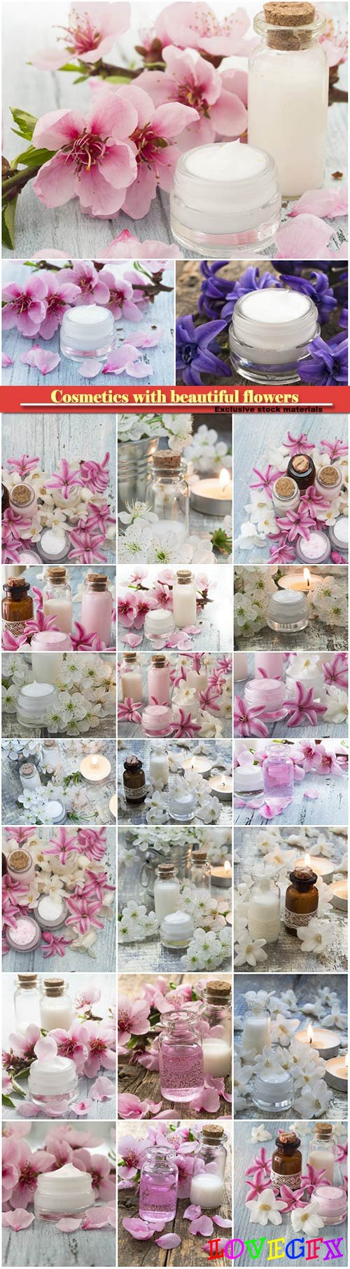 Cosmetics with beautiful flowers on a wooden background