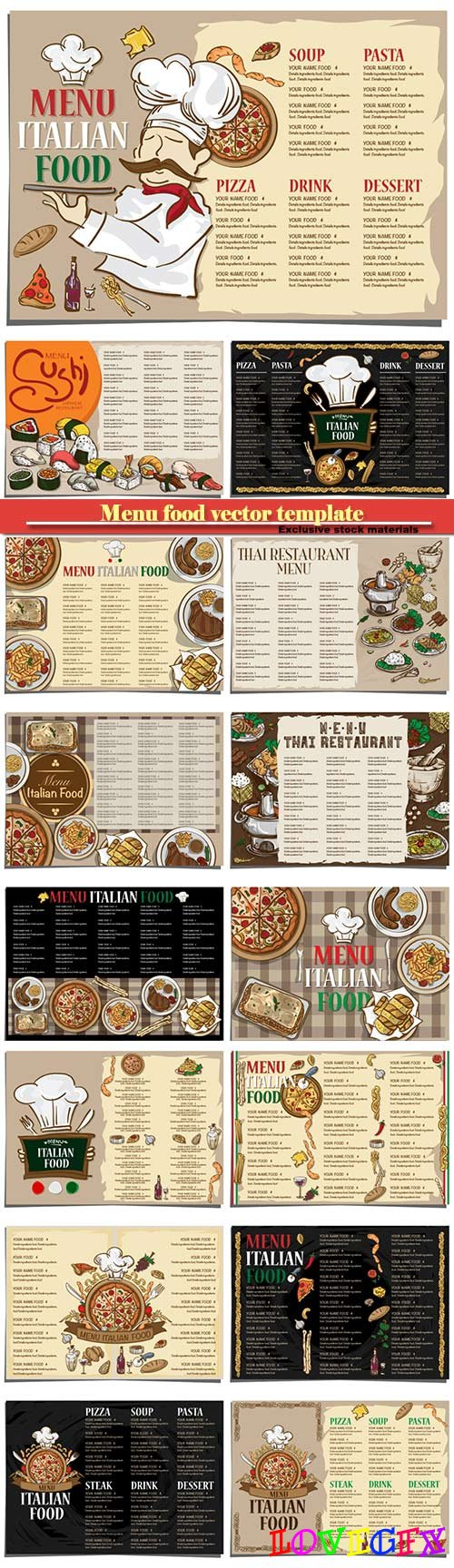 Menu sushi japanese food and italian vector food template