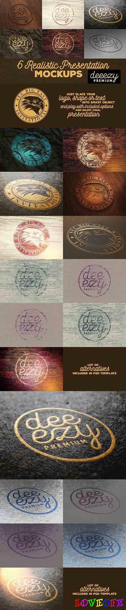 6 Realistic Logo or Text Mock-ups 1917280