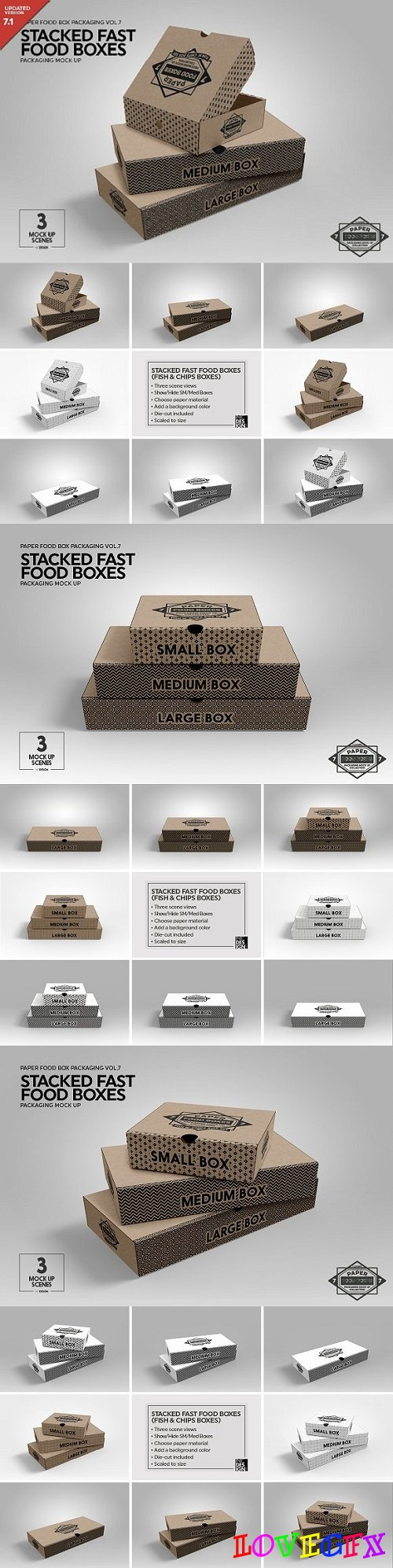 Stacked Fast Food Boxes MockUp 1931891