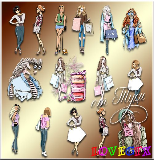 I drew you. Girls - Clipart