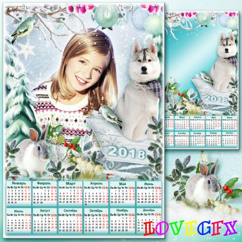 Winter calendar with frame for photo - Winter enchanted forest