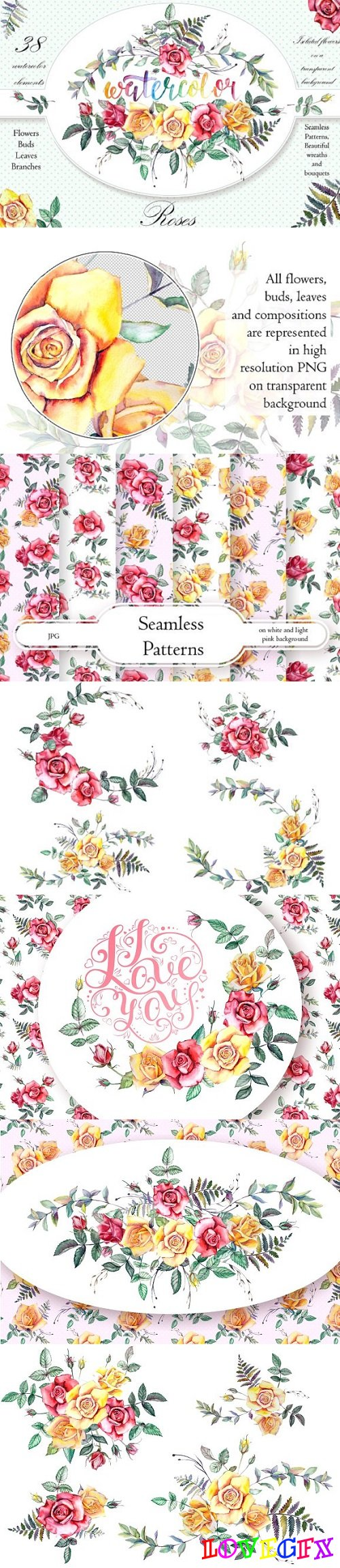 Watercolor Flowers Clipart - Roses 1916568