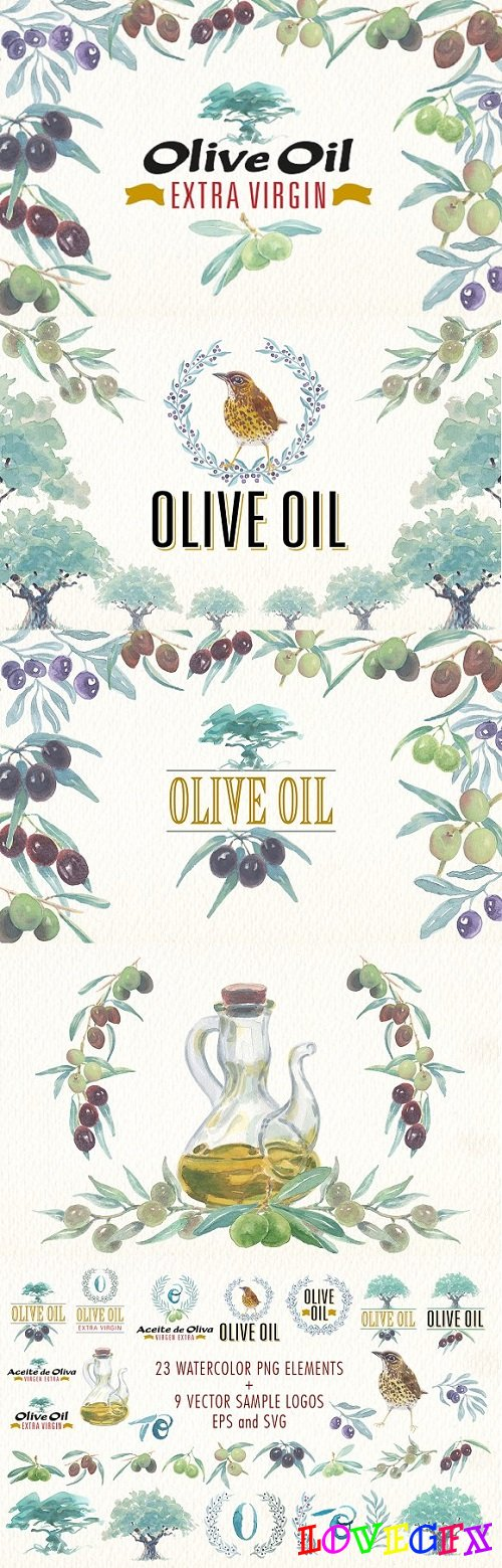 Watercolor olive oil clipart 1919283